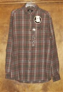 NWT-Realtree LS Button-Collar, Flannel Shirt, Size M,Cotton,Gray/Red/White Plaid
