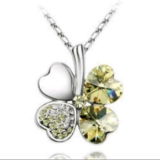 4 LEAF CLOVER SHAMROCK NECKLACE IN YELLOW **UK SELLER** GIFTS PRESENT
