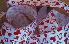 1m Wire Edged Everyday Ribbon. White With Red Glittery Faux Velvet Hearts