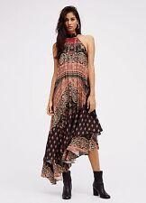 Anthropologie Free People Painted Flowers Halter Asymmetrical Hem Dress S New