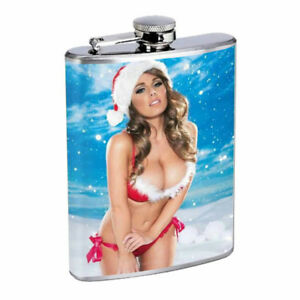 Christmas Pin Up Girls D2 Flask 8oz Stainless Steel Hip Drinking Whiskey