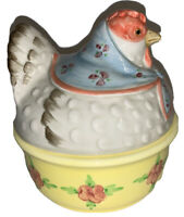 """Vintage Fitz And Floyd Ceramic Chicken Covered Bowl With Lid 5.5"""" Tall"""