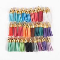 30pcs DIY Metal Suede Leather Tassel Earrings Keychain Pendant Accessories
