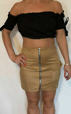 Influence Skirt Suedette Zip Front Pocket Bodycon Mini Short Size 6,8,10,12 NEW