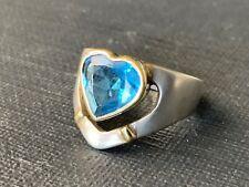 Vintage Celtic Claddagh Sterling Silver 925 Blue Topaz Heart Ring Size 6.75 J007