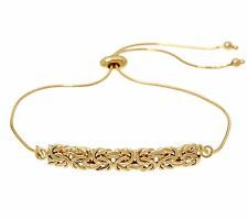 Adjustable Byzantine Bar Bracelet 14K Yellow Gold Clad 925 Sterling Silver QVC
