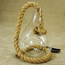 "Hanging 6"" Clear Glass Vase w/ 19"" Jute Rope for Air Plant Cactus Terrarium"