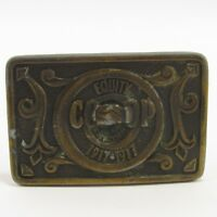 "Equity Co-Op 1917-1977 Belt Buckle Metal Vintage 2.25x3.5"" Bergamot Brass Works"