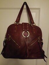 VIA SPIGA Large Brown Leather Hobo Tote Handbag Shoulder Purse Distress Boho Bag