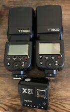New listing Two (2) Godox Tt600 for Nikon & X2T remote flash trigger for Nikon. Strobist
