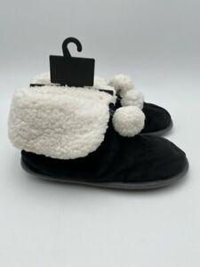 Cuddl Duds Size M (7-8) Black w/White Faux Fur Slippers, NWT