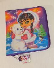 Vintage Lisa Frank Eskimo Girl & Polar Bear 3 Ring Friends Zipper Binder RARE