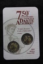 FOLDER 2 EURO COMMEMORATIVO ITALIA 2015 DANTE ALIGHIERI CON DITTICO 2 EURO