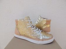 UGG GOLD GRADIE GLITTER SPARKLE LEATHER SNEAKER ANKLE BOOTS, US 6/ EUR 37 ~NIB