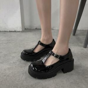 Punk Chunky Block Heel Womens Oxfords Platform Mary Jane Pumps T Bar Strap Shoes