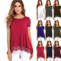 New Women Solid Loose Short Sleeve Splice Casual Crew Neck T Shirt Tops Blouse