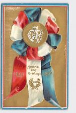 VINTAGE PATRIOTIC POSTCARD DECORATION MEMORIAL DAY RED WHITE AND BLUE RIBBON - E