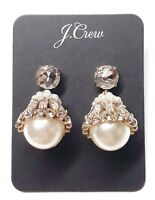 J.Crew Morzine Crystal and Pearl Drop Earrings in Crystal with Dust Bag $65 New