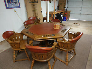Romweber poker table and 6 chairs - vintage wood and leather, good condition