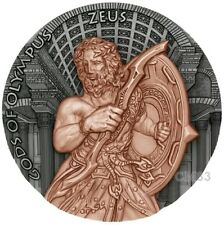 2017 2 Oz Silver ZEUS GODS OF OLYMPUS Silver Coin, 5$ Niue Island.
