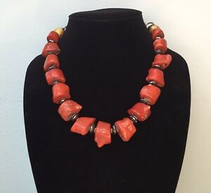Vintage Artisan Masha Archer Signed with Cartouche Coral Necklace