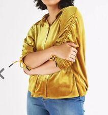 B59# ELVI Mastard Velvet Gathered Shirt Size Uk18