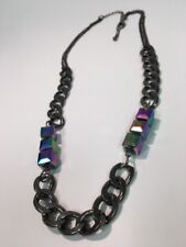 Vintage Cube Bead Iridescent Dark Gray Flattened Chain Necklace