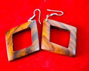 Brown colored Handmade natural organic Coconut Wood Earrings - New