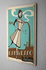 Tin Sign Fun Kitchen Decoration  Espresso coffee maker italian women cartoon Met