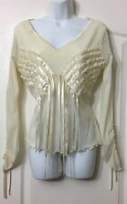 NWOT STUNNING RIBBON & RUFFLE SHEER TOP SIZE 16 CHIC CHIFFON TOP