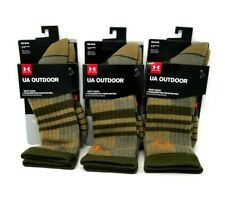 NEW 3 Pairs Under Armour Mens Medium Tan Crew All Season Boot Sock Wool Blend