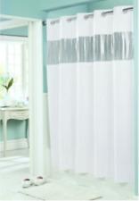 Hookless Shower Curtain, Vinyl, WHITE, 71 x 74 Inches, See Thru Window