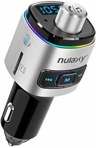 Car FM transmitter, Nulaxy Bluetooth QC3.0 FM transmitter adapter with 7 colour