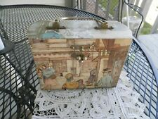 Wood mid-century box purse decoupage