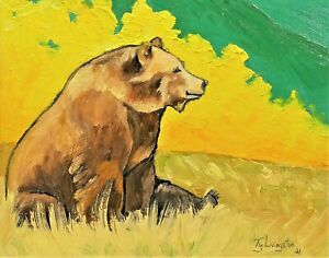 """8""""X 10"""" Original oil Painting of a Grizzly Bear by Ty Livingston"""