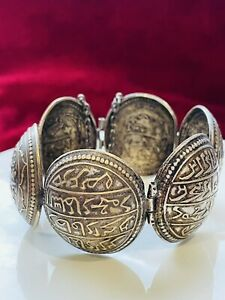 ANTIQUE ISLAMIC/ MIDDLES EASTERN TURKISH BRACELET SILVER PLATED/WHITE METAL 1880