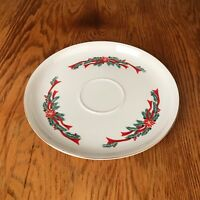 Tienshan Poinsettia & Ribbons Round Serving Platter With Lip In Middle