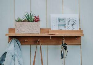 Timber Entryway Organiser Shelf Coat Rack Peg Rack Hooks Key Rack Mail Organiser