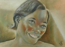 Original ACEO Oil Painting Girl Woman Portrait PRECIOUS SMILE  Signed by JV
