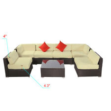 7PC Outdoor Patio Furniture Rattan Wicker Sectional Sofa Chair Couch Set Deluxe