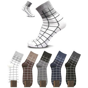 KIKIYA Men's Dress Socks Net Patterned Fashion Cotton Lot Casual Business Crew
