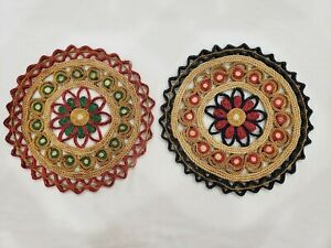 2 Lot Large Vntg Raffia Straw Trivet Rattan Wicker Hot Pads Floral Boho Decor