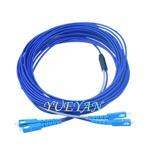 100M Armored Fiber Optic Cable SC to SC UPC SM 9/125 Duplex Fiber Patch Cord