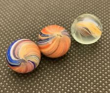 Vintage Small Glass Bright Multicolored Swirl Marbles (set of 3) 0.49