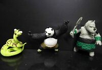 "lot of 3 Mattel Kung Fu Panda Master Viper Po RHINO  Figure 2"" no stand loose"
