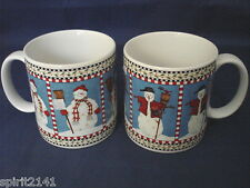Set of 2 Coffee Mugs SNOWMAN by Sakura Snowman w/ Scarf & Snowman w/ Bird/Broom!