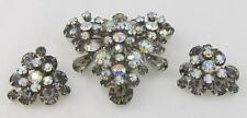 Vintage JULIANA D&E Gray & AB Rhinestone Triangle Brooch & Clip On Earrings SET