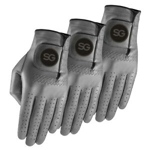 Pack of 3 SG Men Colored Cabretta leather golf gloves 5 Colours Black Blue Grey