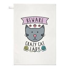 Fai attenzione Crazy Cat Lady asciugamani Dish Cloth-GATTINO ANIMALE BUFFO