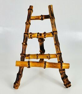 Vintage Chinoiserie Burnt Bamboo Easel Photo Plate Art Picture Stand 8Hx6Wx5.5D